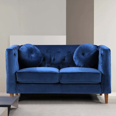 Kitts Classic Chesterfield Loveseat Upholstery: Blue