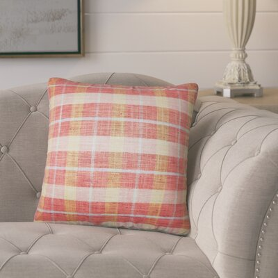 Parmley Plaid Throw Pillow Color: Strawberry
