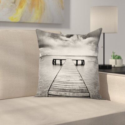 Old Pier on Sea Square Pillow Cover Size: 24 x 24