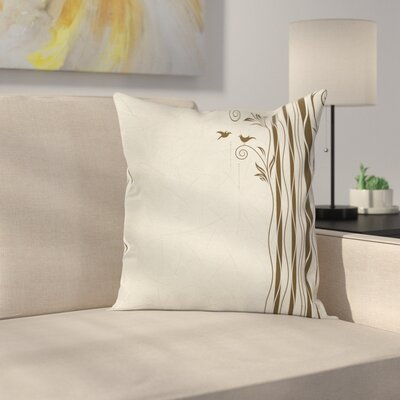 Wavy Tree Branches Birds Cushion Pillow Cover Size: 24 x 24