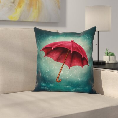 Retro Autumn Umbrella Square Pillow Cover Size: 24 x 24