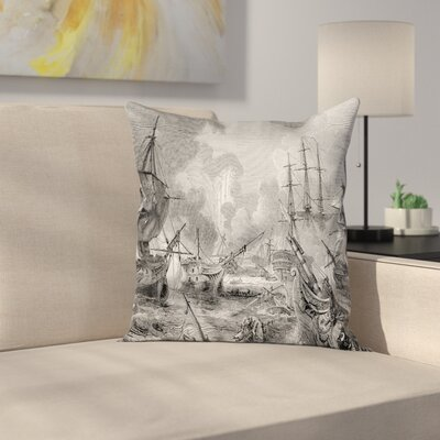 Case Naval Battle Vintage War Square Pillow Cover Size: 16 x 16