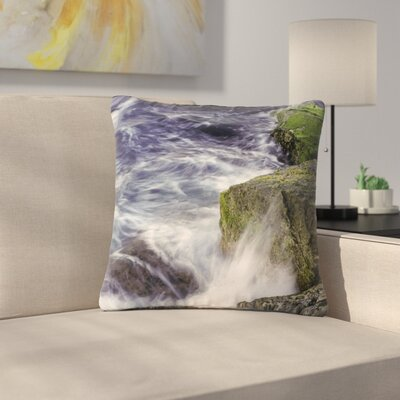 Nick Nareshni Wave Against La Jolla Rocks Ocean Outdoor Throw Pillow Size: 16 H x 16 W x 5 D