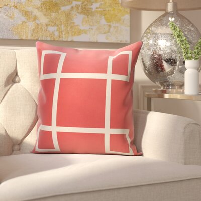 Harford Geometric Outdoor Throw pillow Color: Coral, Size: 16