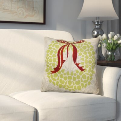 Decorative Holiday Floral Print Outdoor Throw Pillow Size: 16 H x 16 W, Color: Light Green