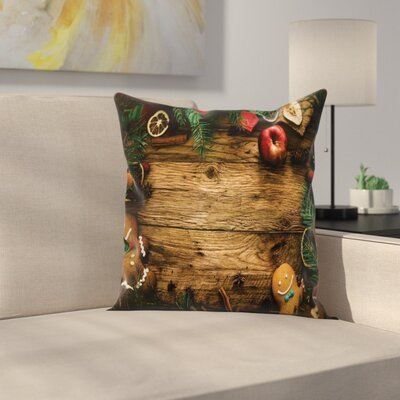 Christmas Rustic Lodge Wood Square Pillow Cover Size: 16 x 16