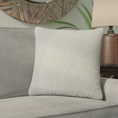 Amina Damask Cotton Throw Pillow Color: Jute