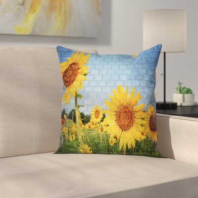 Floral Sunflowers on the Wall Square Pillow Cover Size: 24 x 24