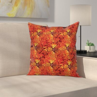 Grungy Flower Romantic Square Pillow Cover Size: 24 x 24