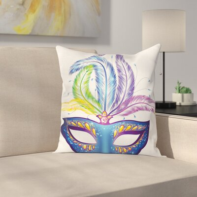 Mardi Gras Venetian Mask Square Cushion Pillow Cover Size: 18 x 18
