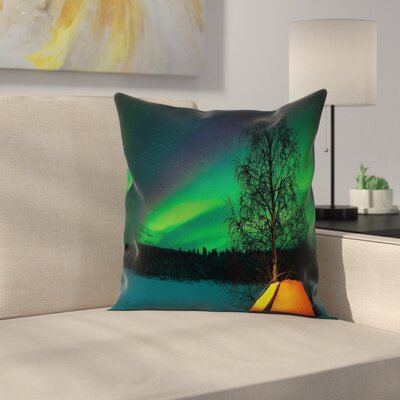 Camping Tent Field Night Cushion Pillow Cover Size: 16 x 16