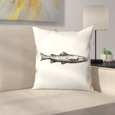 Jetty Printables Trout Illustration Throw Pillow Size: 14 x 14