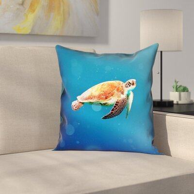 Sea Turtle Square Pillow Cover Size: 14 x 14