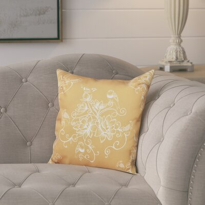 Cecilia Morning Birds Floral Print Throw Pillow Size: 26 H x 26 W, Color: Gold