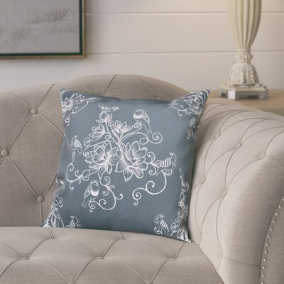 Cecilia Morning Birds Floral Outdoor Throw Pillow Size: 18 H x 18 W, Color: Gray