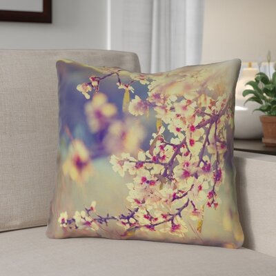 Ghost Train Cherry Blossoms Zipper Throw Pillow Size: 14 H x 14 W