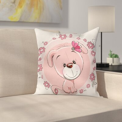Dog Cute Puppy Daisy Flowers Square Pillow Cover Size: 16 x 16
