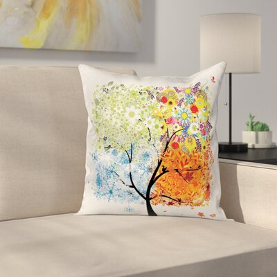 Tree Flowers Four Season Theme Square Pillow Cover Size: 16 x 16