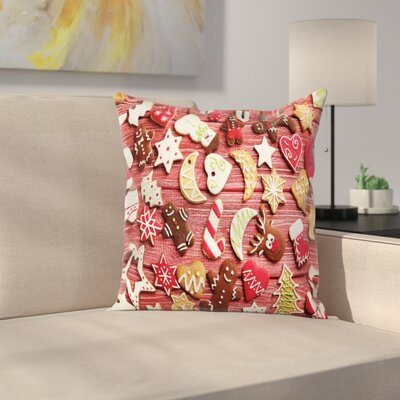 Gingerbread Man Sugary Treats Square Pillow Cover Size: 20