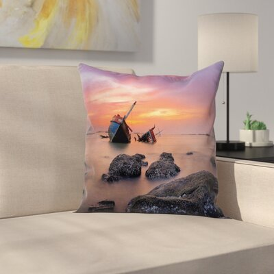 Nautical Foggy Water Sunset Square Pillow Cover Size: 20 x 20