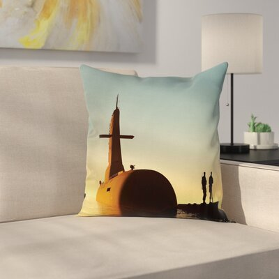 Submarine Soldiers Square Pillow Cover Size: 18 x 18