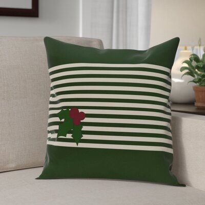 Holly Stripe Decorative Throw Pillow Size: 18 H x 18 W, Color: Dark Green / Ivory