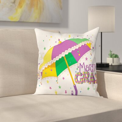 Mardi Gras Umbrella Stars Fun Square Cushion Pillow Cover Size: 16 x 16