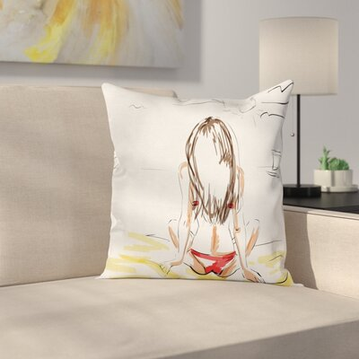 Holiday Sketch Beach Summer Square Pillow Cover Size: 24 x 24