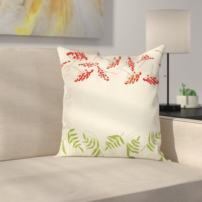 Border with Mountain Ash Square Pillow Cover Size: 18 x 18