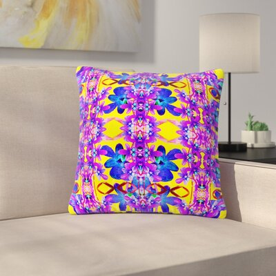 Dawid Roc Tropical Orchid Floral Outdoor Throw Pillow Size: 18 H x 18 W x 5 D, Color: Purple/Yellow