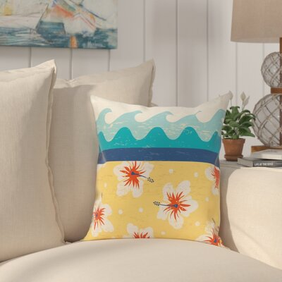 Golden Beach Floral Throw Pillow Size: 26 H x 26 W, Color: Yellow