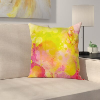Pastel Spring Yard Watercolors Square Pillow Cover Size: 24 x 24