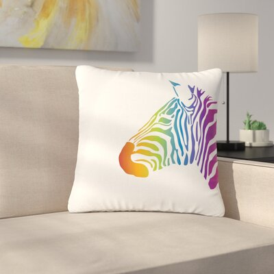 NL designs Rainbow Zebra Animals Outdoor Throw Pillow Size: 18 H x 18 W x 5 D
