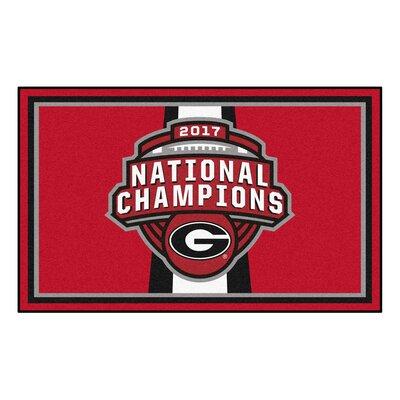 NCAA Red/White Area Rug Team: University of Georgia