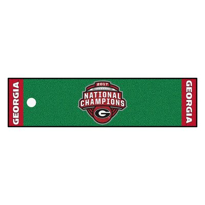 NCAA Putting Green/Red Area Rug Team: University of Georgia