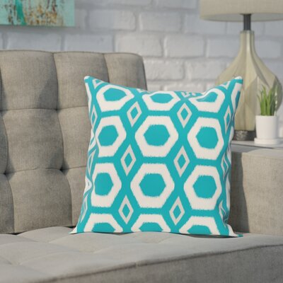 Brockley Geometric Print Throw Pillow Size: 16 H x 16 W x 1 D, Color: Caribbean