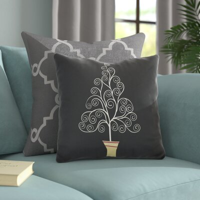 Filigree Tree Outdoor Throw Pillow Size: 16 H x 16 W, Color: Black