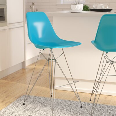 Alexander Mid Century Chromed Side Bar Stool Finish: Blue