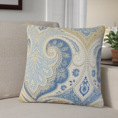 Derosier Damask Linen Throw Pillow Color: Blue