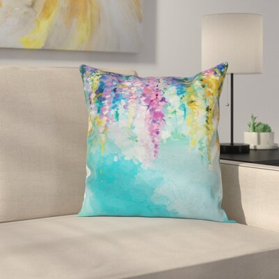 Abstract Art WaterFlower Square Pillow Cover Size: 18 x 18