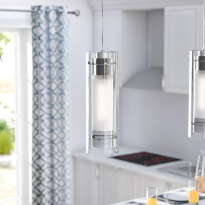 Emerson Cylindrical 1-Light Pendant Finish: Polished Chrome, Shade color: White Fabric