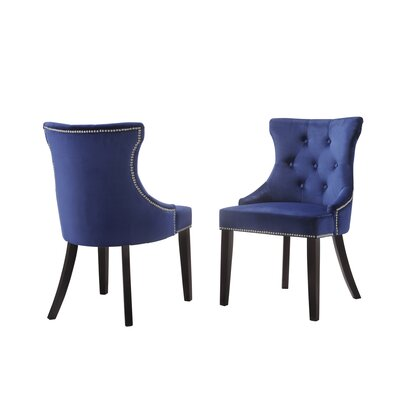 Haslett Upholstered Dining Chair Upholstery Color: Navy