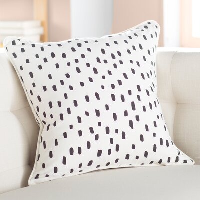 Carnell Contemporary Cotton Throw Pillow Color: White/ Black