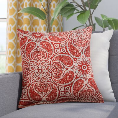 Dacia 100% Cotton Throw Pillow Color: Cayenne