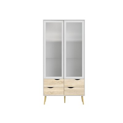Almaguer 4 Drawer and 2 Door China Cabinet with Glass Color: White/Oak Structure