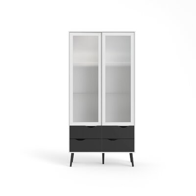 Mateer 4 Drawer and 2 Door China Cabinet with Glass Color: White/Black Matte