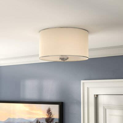 Laurie 2-Light Flush Mount Finish / Shade: Satin Nickel / White