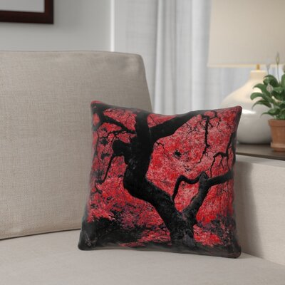 Ghost Train Japanese Maple Tree Double Sided Print Throw Pillow Color: Red, Size: 14 x 14