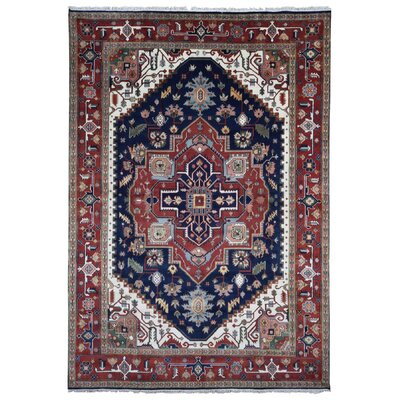 One-of-a-Kind Roselle Oriental Hand-Woven Wool Rust/Blue Area Rug