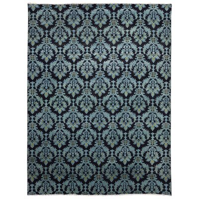 One-of-a-Kind Hileman Modern Turkish Knot Hand-Woven Wool Black/Blue Area Rug